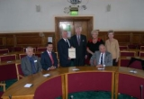 Gatcombe Parish Council members receive the Certificate from David Guy.